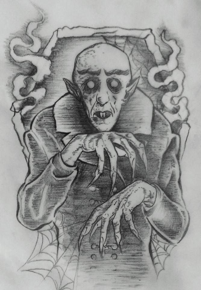 Rebeccareynosferatu Sketch Nosferatu Max Schreck Stippling Coffin Art Drawing