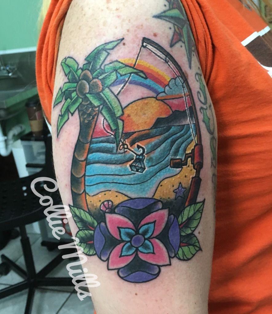 Collie beach scene memorial tattoo beach fishing sunset for Beach scene tattoos