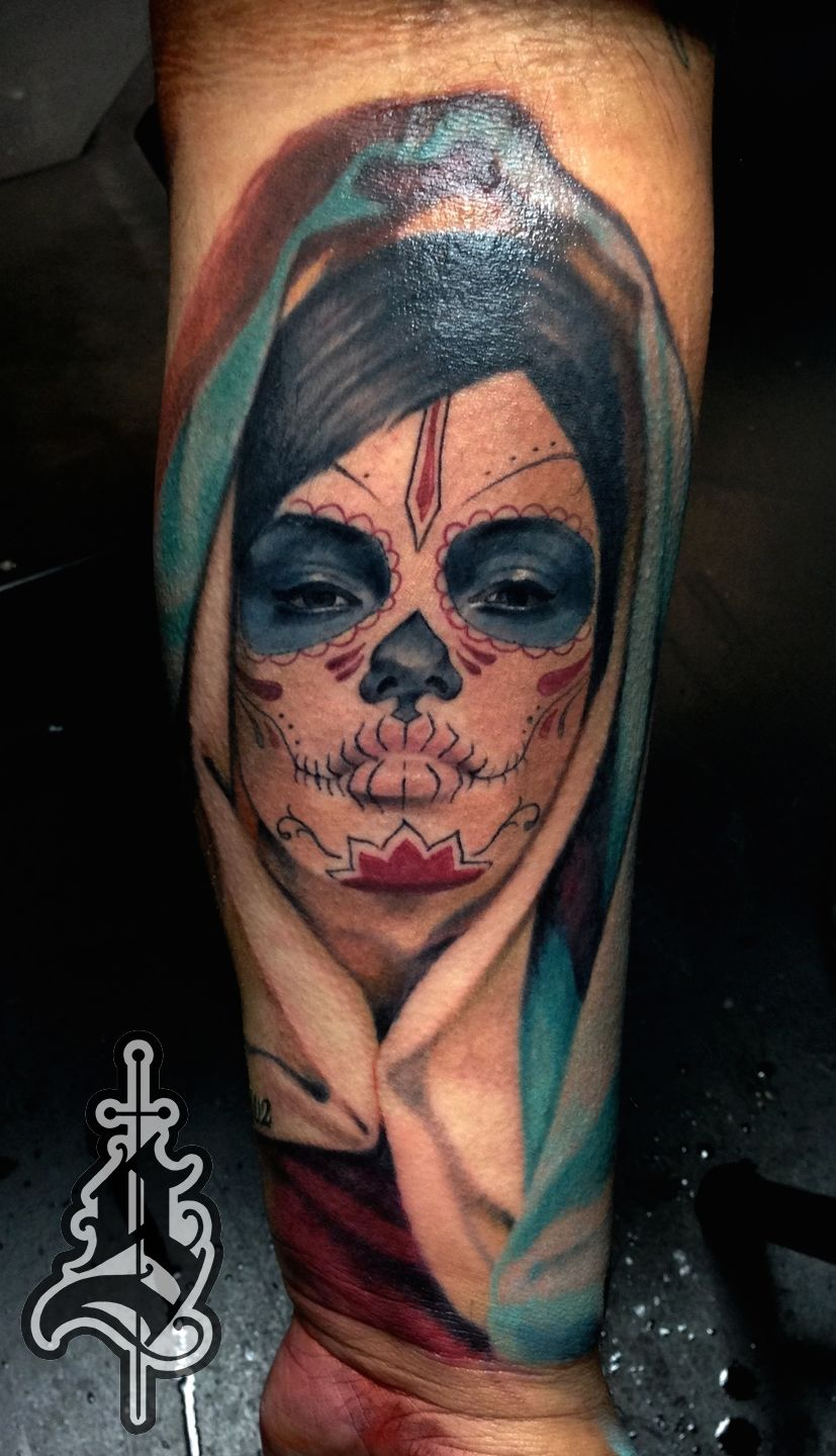 Jasonfrielingday Of Dead Virgin Mary Tattoo Color Day Of The Dead Woman