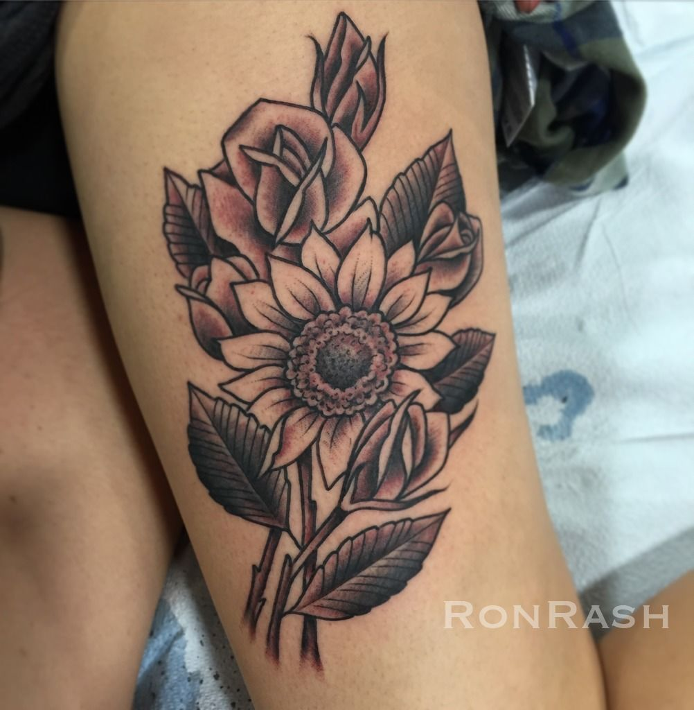 Ronrashflower Tattoo Sunflower Rose