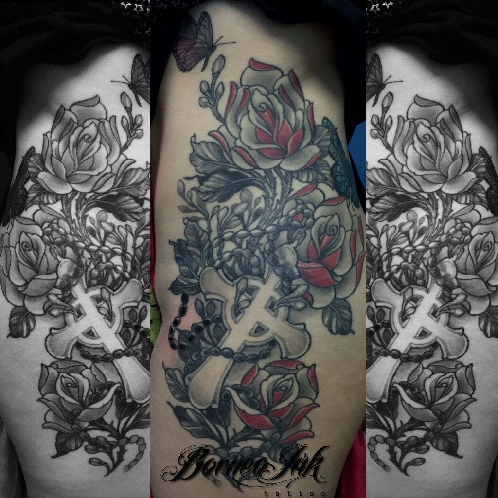 eddieborneoink:neotraditional-roses-neo-traditional-cross ...