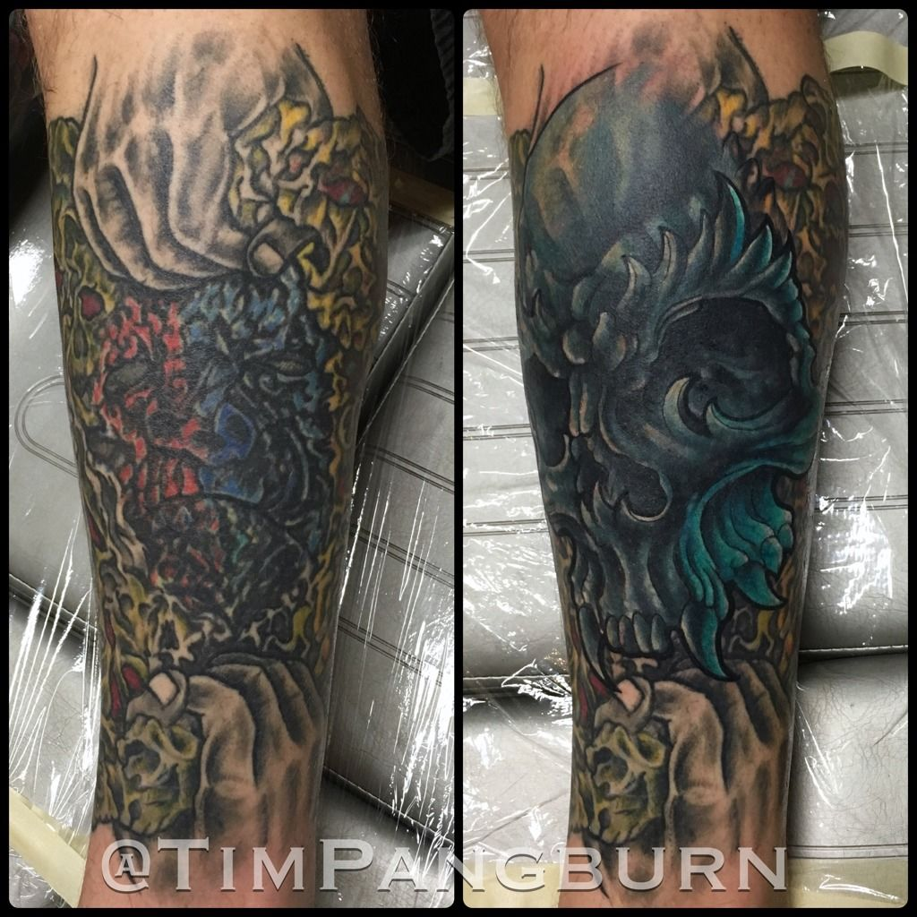 Timpangburn demon skull cover up cover up cover up tattoo for Art machine productions tattoo