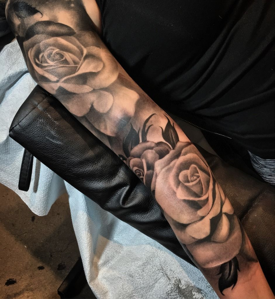 Siegeartroses Rose Tattoo Sleeve Realistic Portrait Black Grey