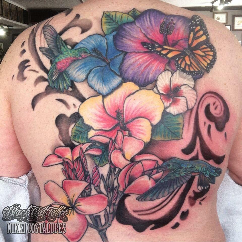 Nikkisintattooback Piece Flowers Butterfly Hummingbird Filigree