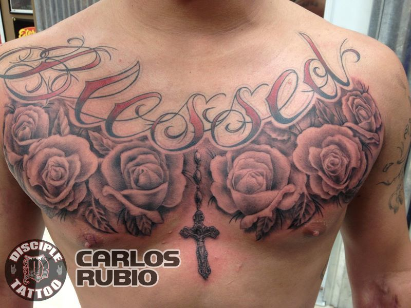 Blessed Tattoo On Chest With Roses