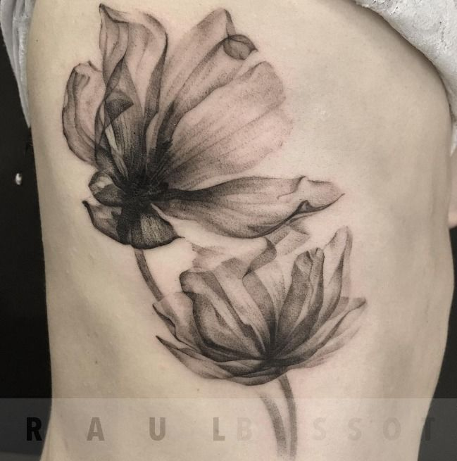 Raulbussotx Ray Flowers Black And Grey Flower Rib Tattoo