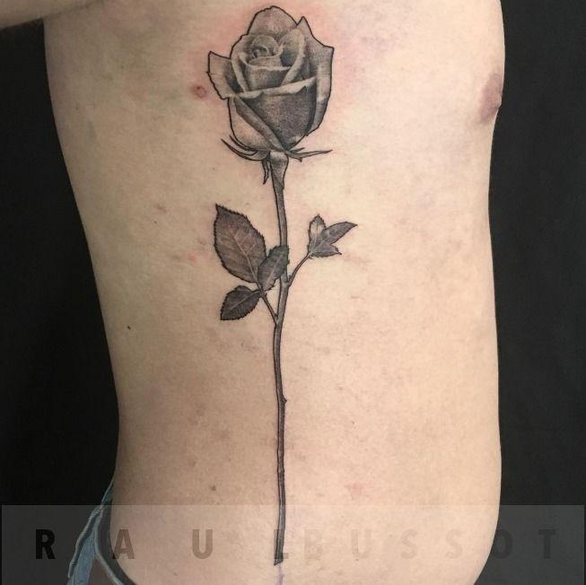 Raulbussotlong Stem Rose Rose Black And Grey Realism Rib Tattoo
