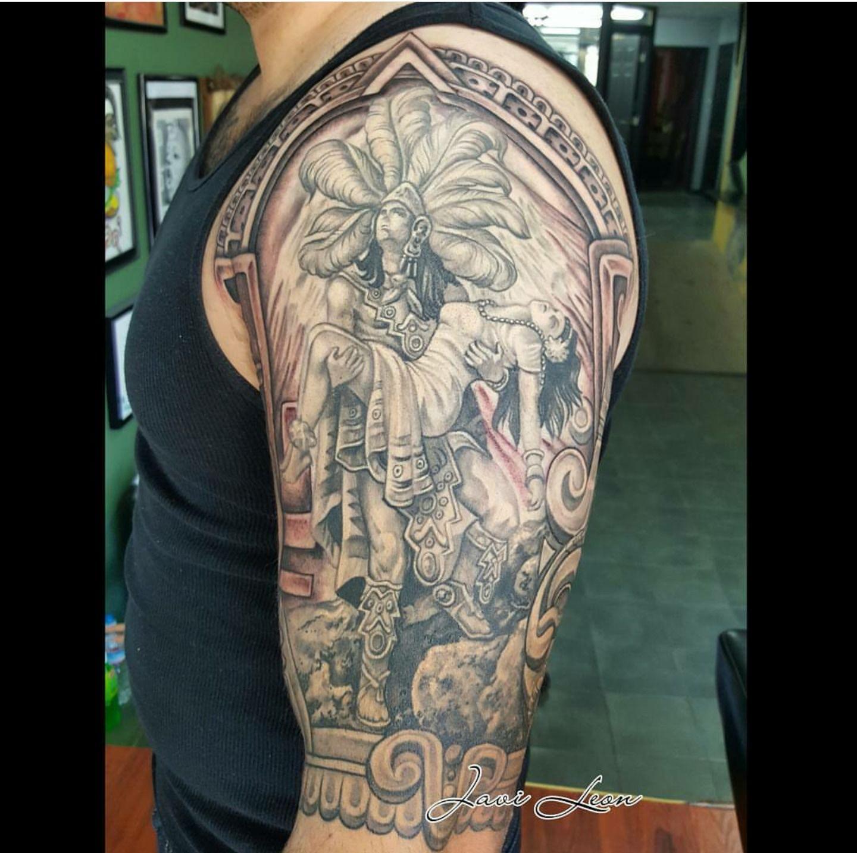 Javi La Mujer Dormida Sleeping Woman Aztec Legend Mujerdormida Mujerblanca Blackandgrey Headdress Aztecwarrior Aztecprincess Mexicantattoos Tatuarte Half Sleeve Aztec Calendar Azteca Folklore Mexicam Folklore Love Protector Strongman Pose Femalefigure
