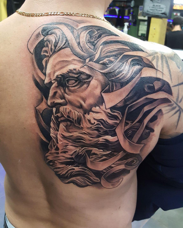 Poseidon Tattoo: Javi:neptune-neptune-roman-gods-sculpture-blackandgrey