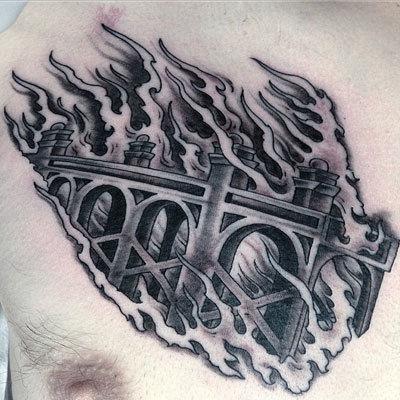 Burning-bridge-tattoo-billy-jordan-the-bell-rose-tattoo-and-piercing-mobile-alabama