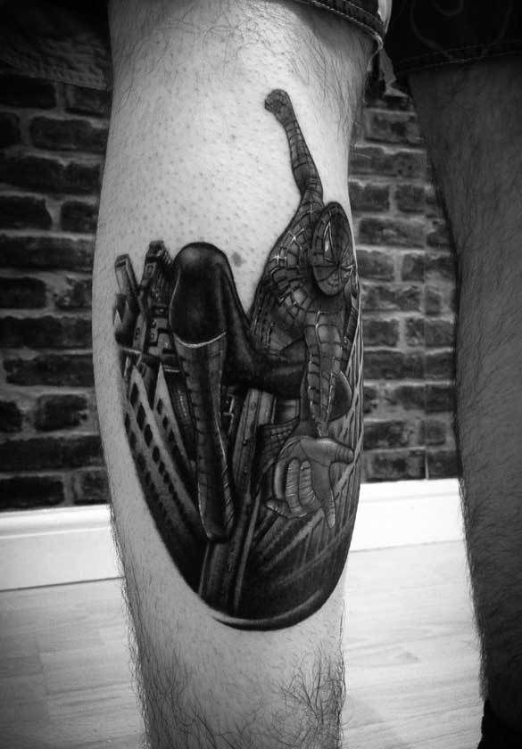 Spiderman-calf2-rosemary-mckevitt-tattoo-ireland