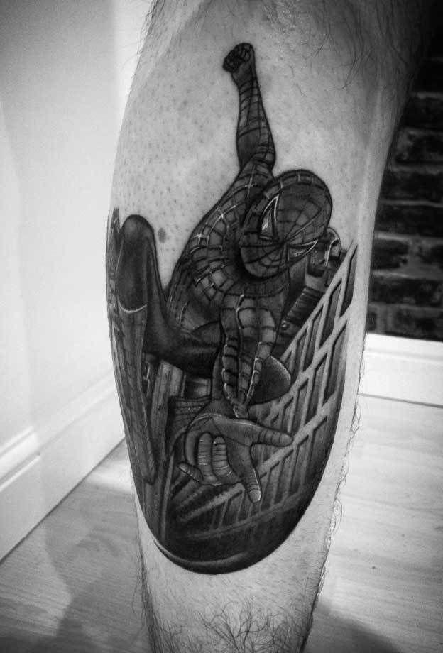 Spiderman-calf-rosemary-mckevitt-tattoo-ireland