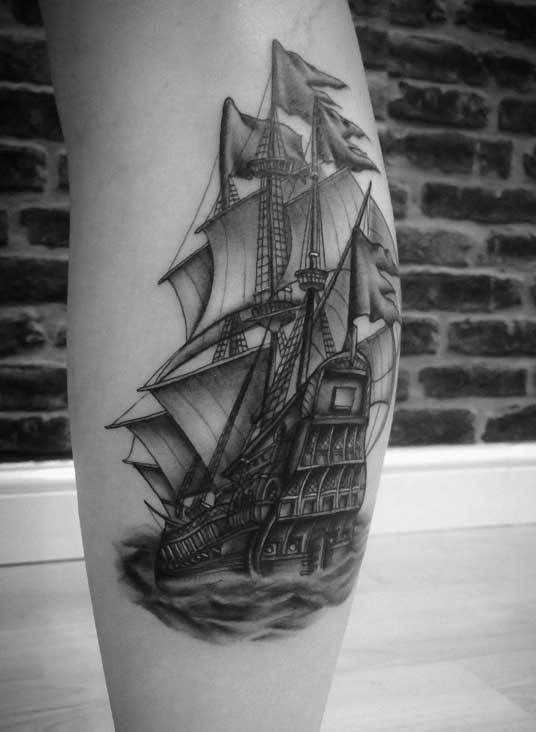 Ship-tattoo-calf-fineline-rosemary-mckevitt-tattoo-ireland