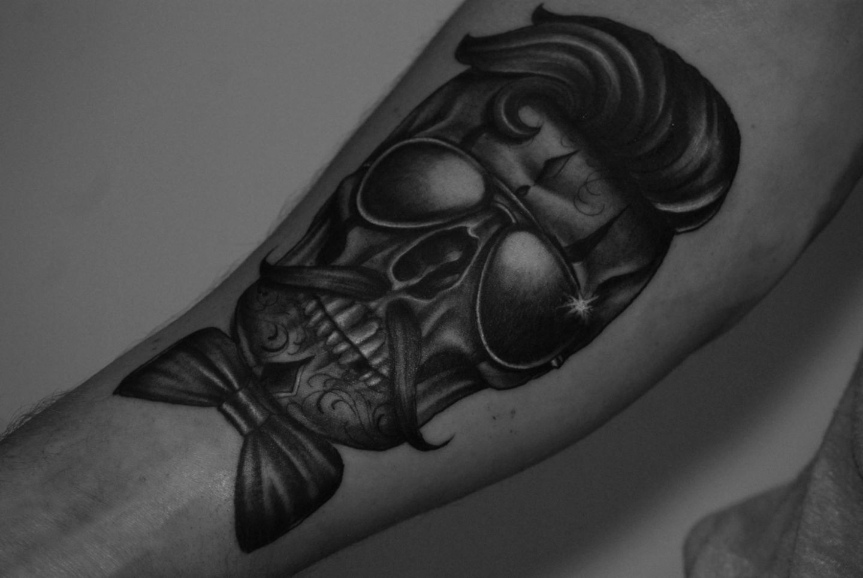 Skull-sunglasses-bowtie-quiff-tash-rosemary-mckevitt-tattoo-ireland