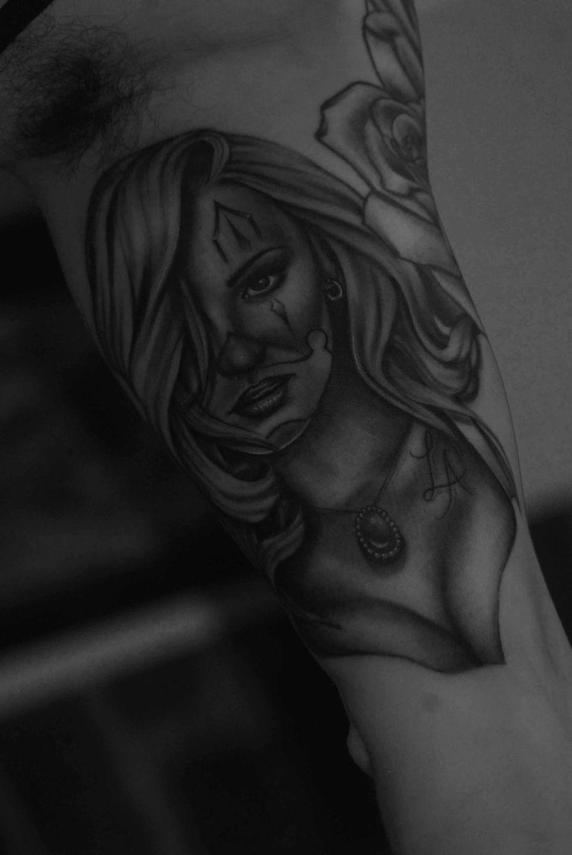 Chicano-gangsterclown-girl-rosemary-mckevitt-tattoo-ireland