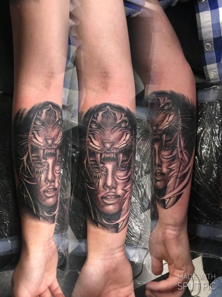 9d1bd5cc6 tattoosbybrett:lady-head-sabertooth-tiger-fangs-tiger-black-and-grey
