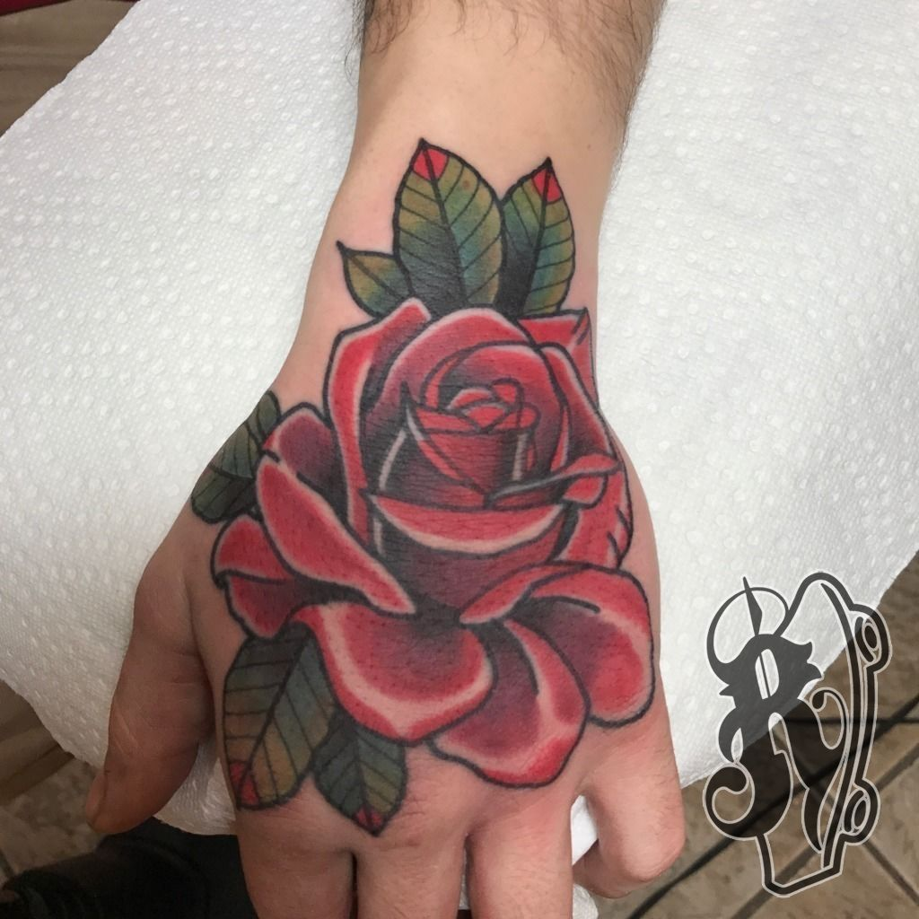 Ryantattooer Hand Jam Rose Bold Hand Color Traditional Leaves Job Stopper