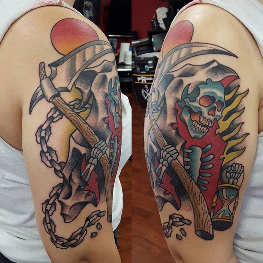 Tattoosbythaireaper Scythe Sun Skull Hourglass Chains