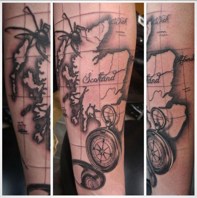 Tonybaker Scotland Scotland Map Compass Spider Black And Grey