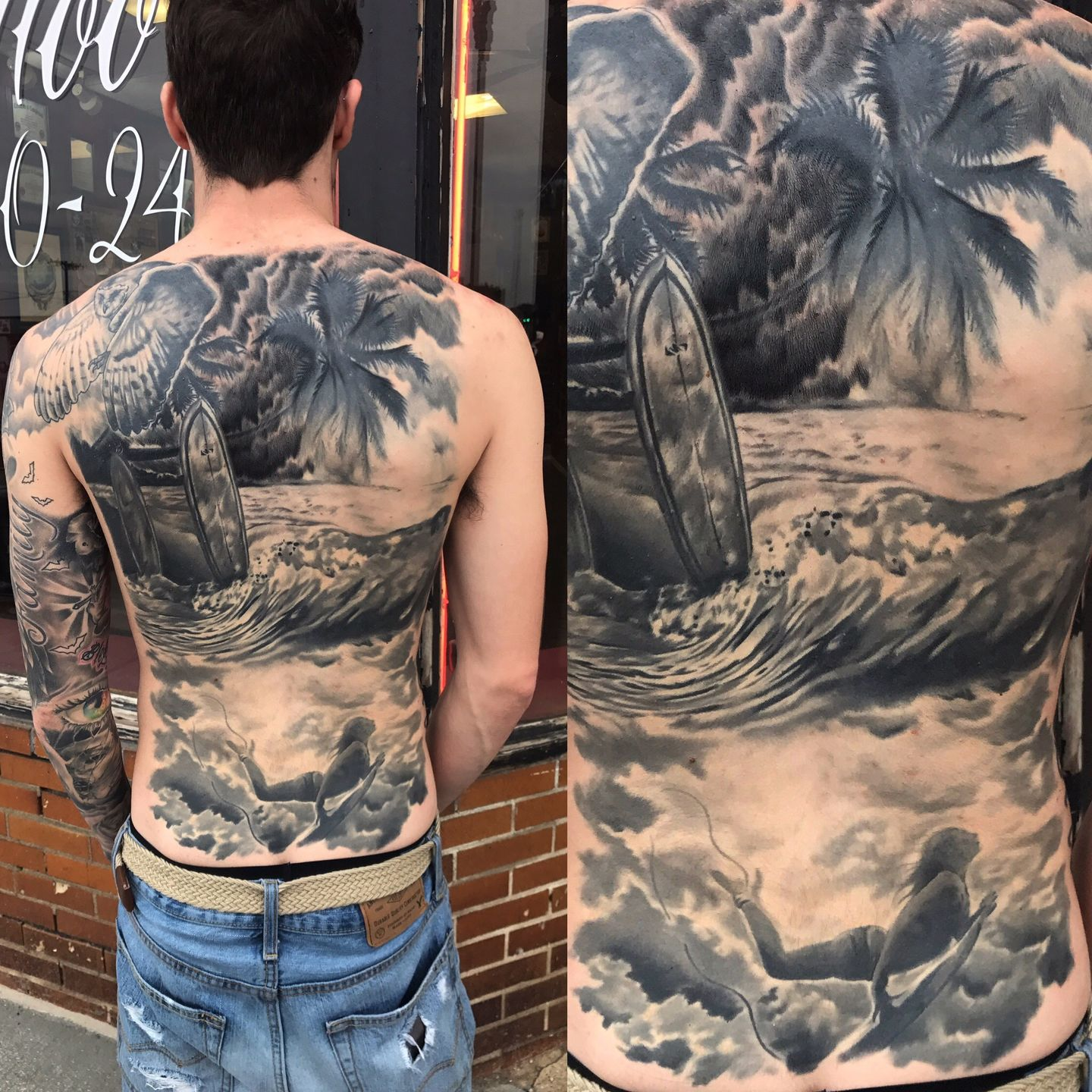 Tattoomepatrickbeach Back Black And Grey Back Piece Surf Surfer