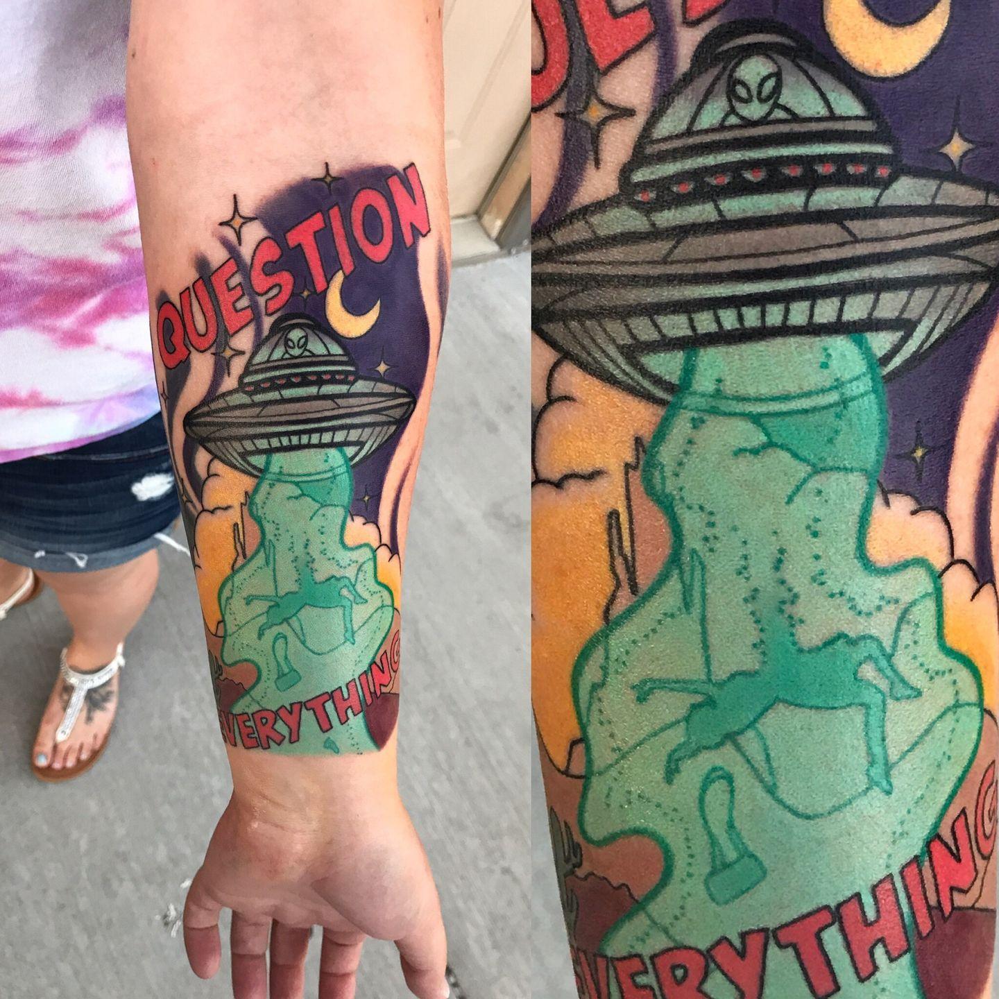 Tattoomepatrick Question Everything Alien Ufo Abduction Alien Abduction Flying Saucer Color