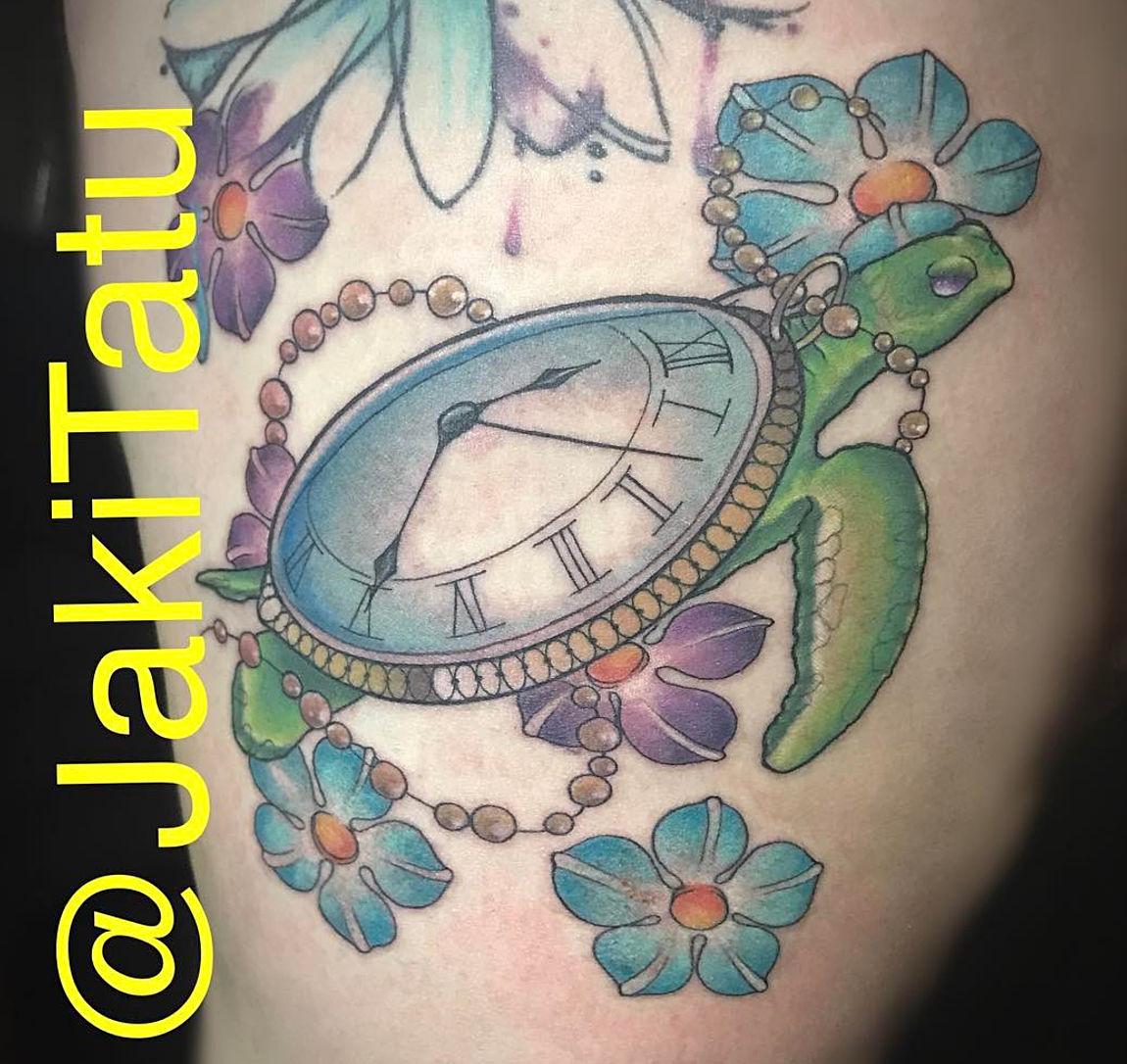 Turtle flower tattoo
