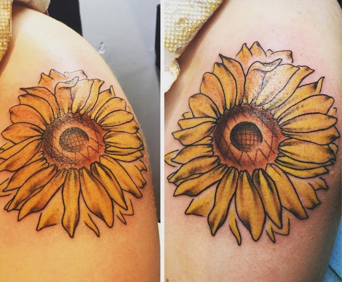 Jakitatusunflower Sunflower Sunflower Tattoo Shoulder Girly Tattoo