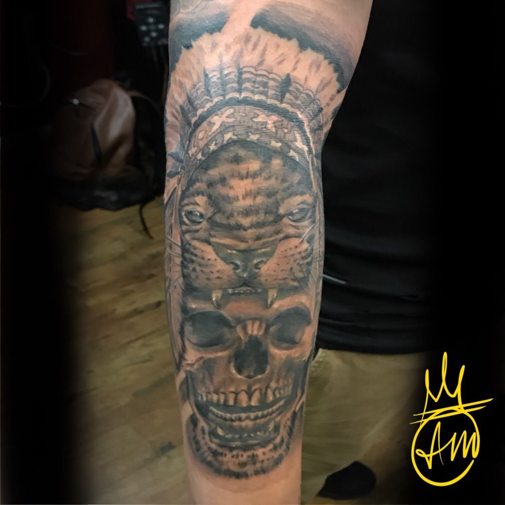Cambamtattoos Native Skull And Beast Skull Native Lion Headdress Bng