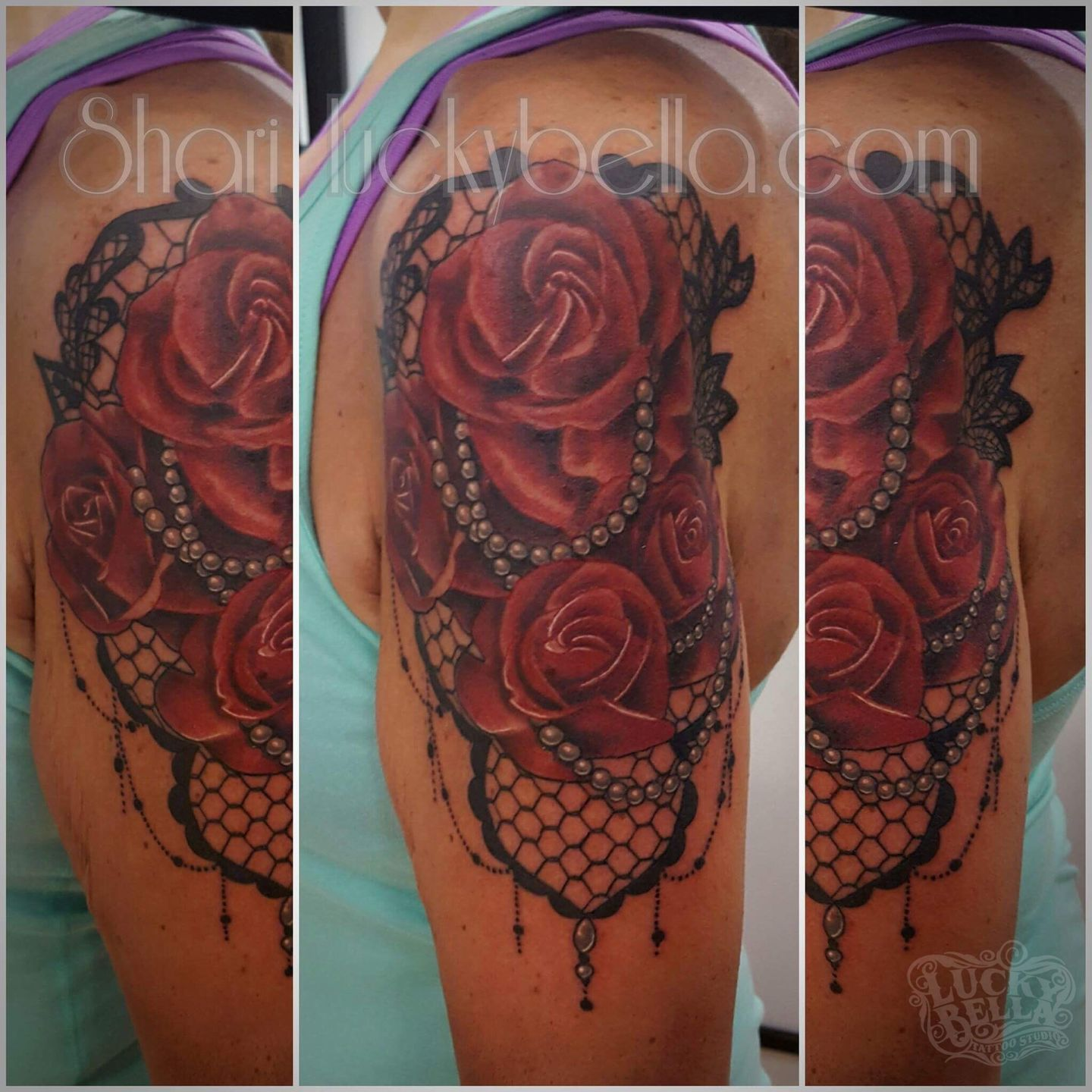 Shariquallsroses And Lace Color Red Rose Flowers Pearls Lace