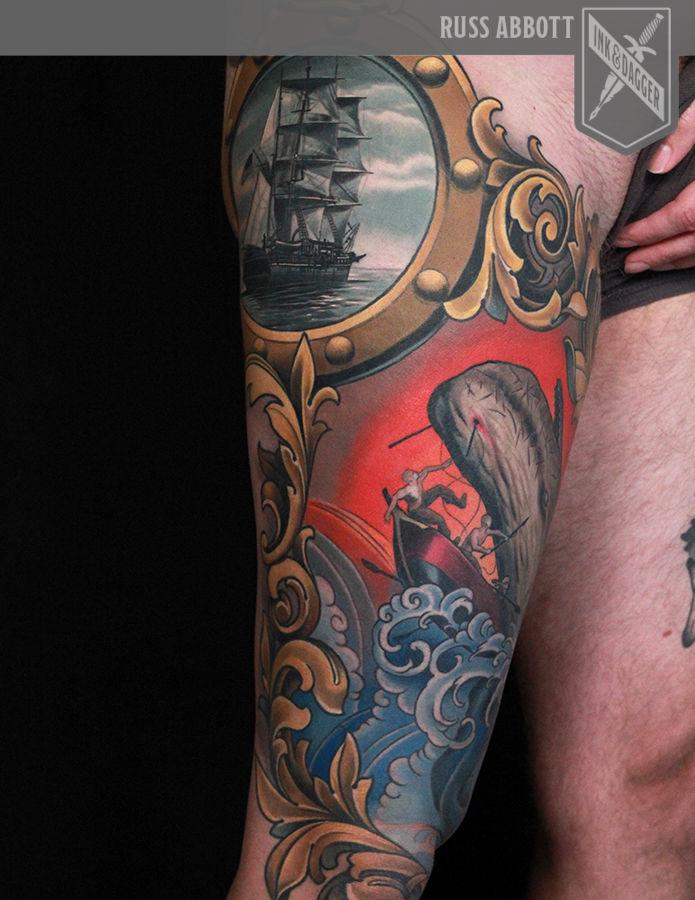 57a7133b0 Moby_dick_scrollwork_frame_ship_russ_abbott_ink_dagger_tattoo_atlanta