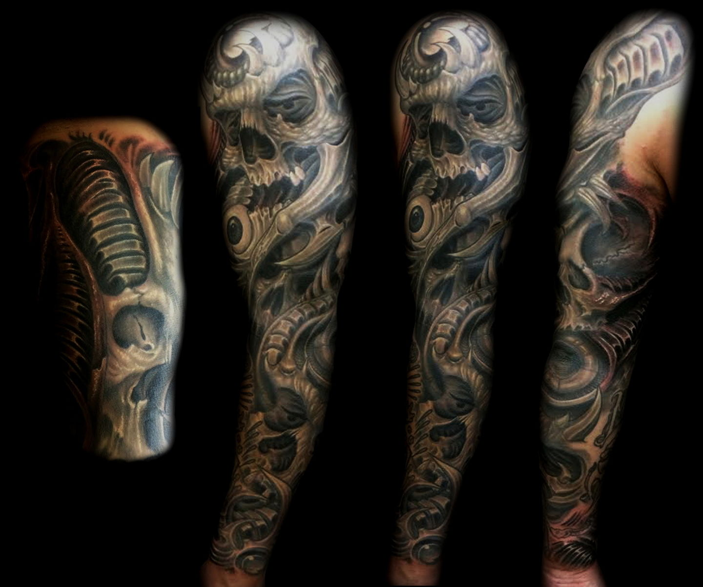 Las-vegas-tattoo-artist_joe-riley_biomech-sleeve-with-skulls
