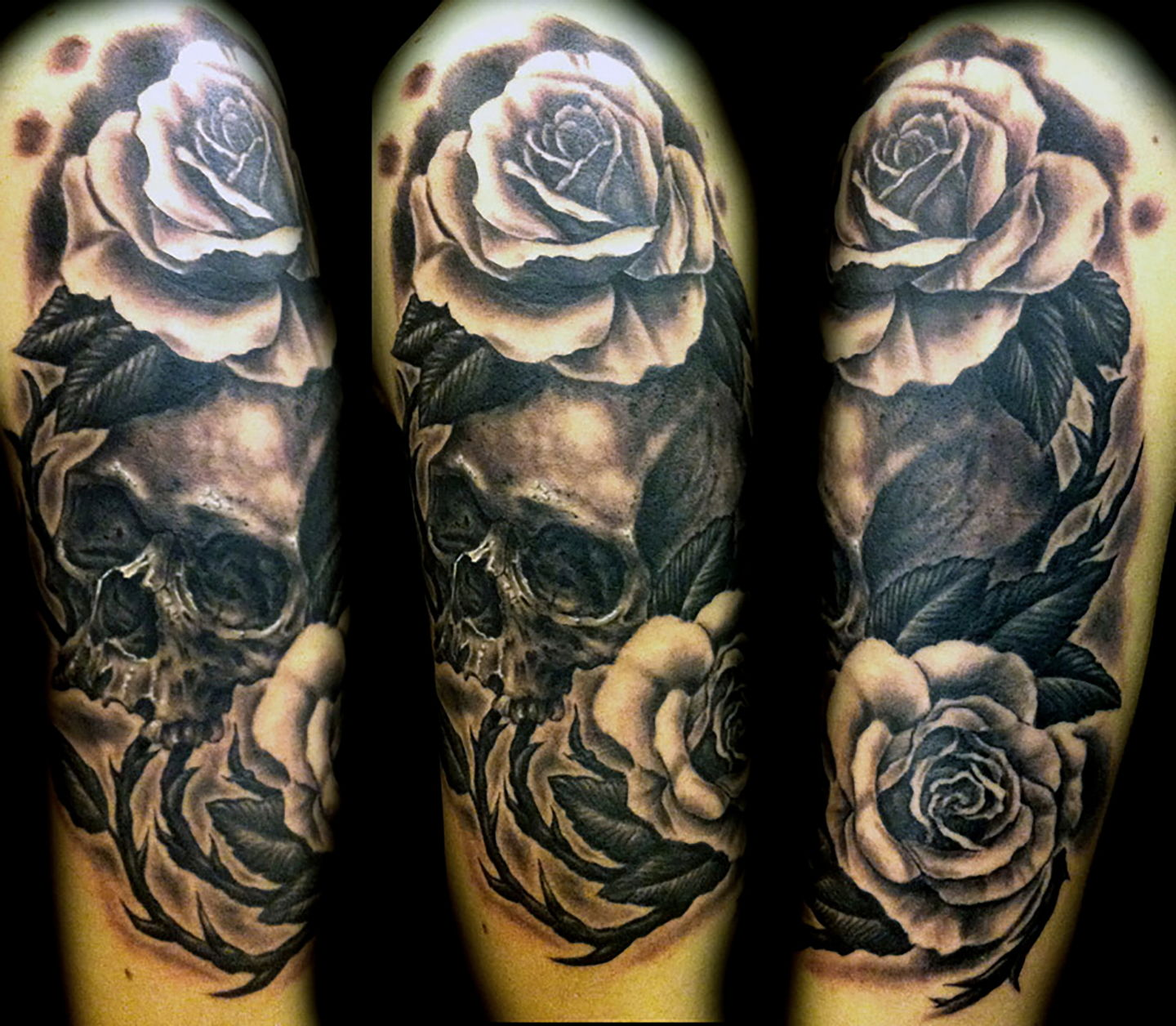 Las-vegas-tattoo-artist_joe-riley_skull-and-roses-tattoos