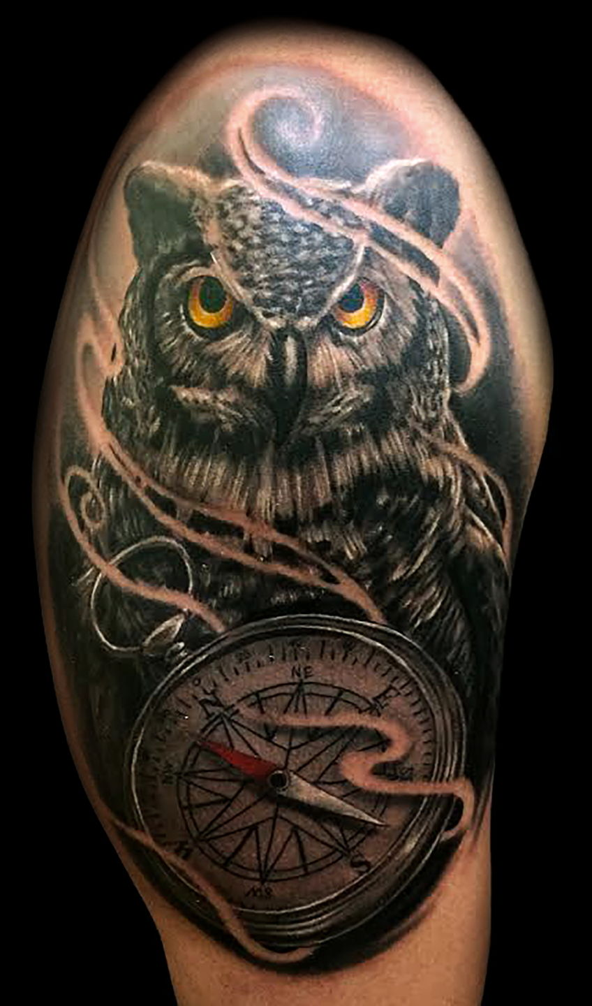 Las-vegas-tattoo-artist_joe-riley_owl-compass-tattoos