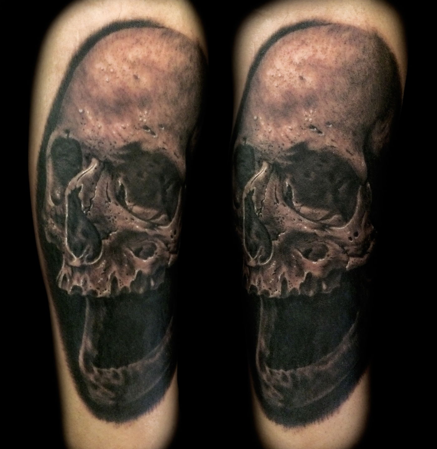 48d7907ccf9b3 joeriley:biomech-biomechanical-color-skull-forearm-realism-realistic
