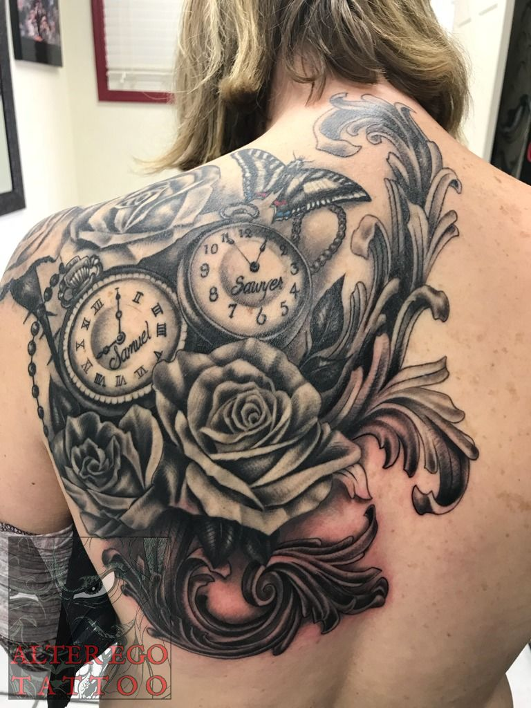 995dda035 tatted4life80:roses-pocketwatchs-filigree-rose-flower-back-tattoo ...