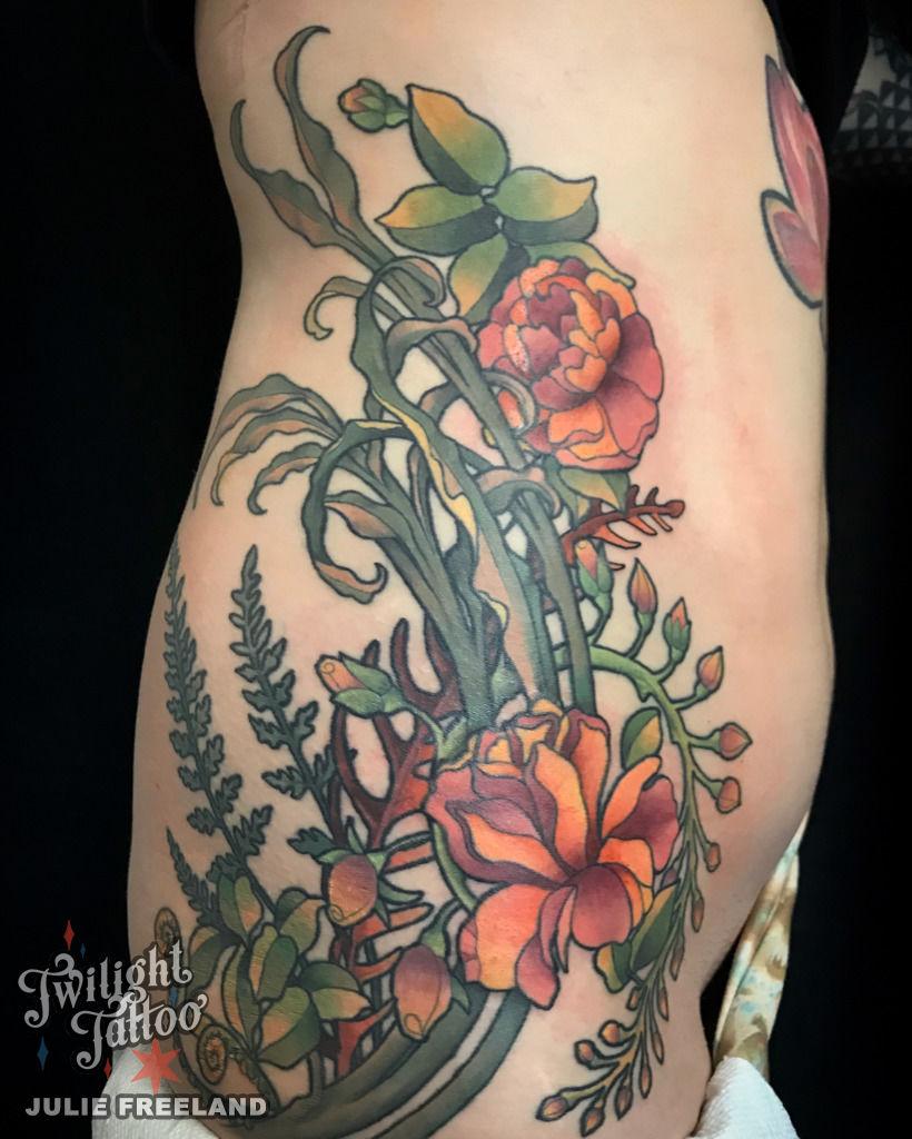 Art Nouveau Flower Tattoo Gis: Inkdbyjulie:mucha-art-nouveau-floral-ferns-color-tattoo-custom