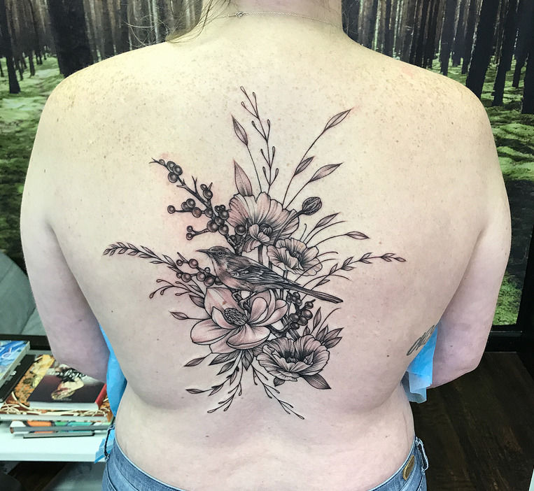 b762474d5 michaelbales:bird-and-floral-on-back-michael-bales-rebel-muse-tattoo ...