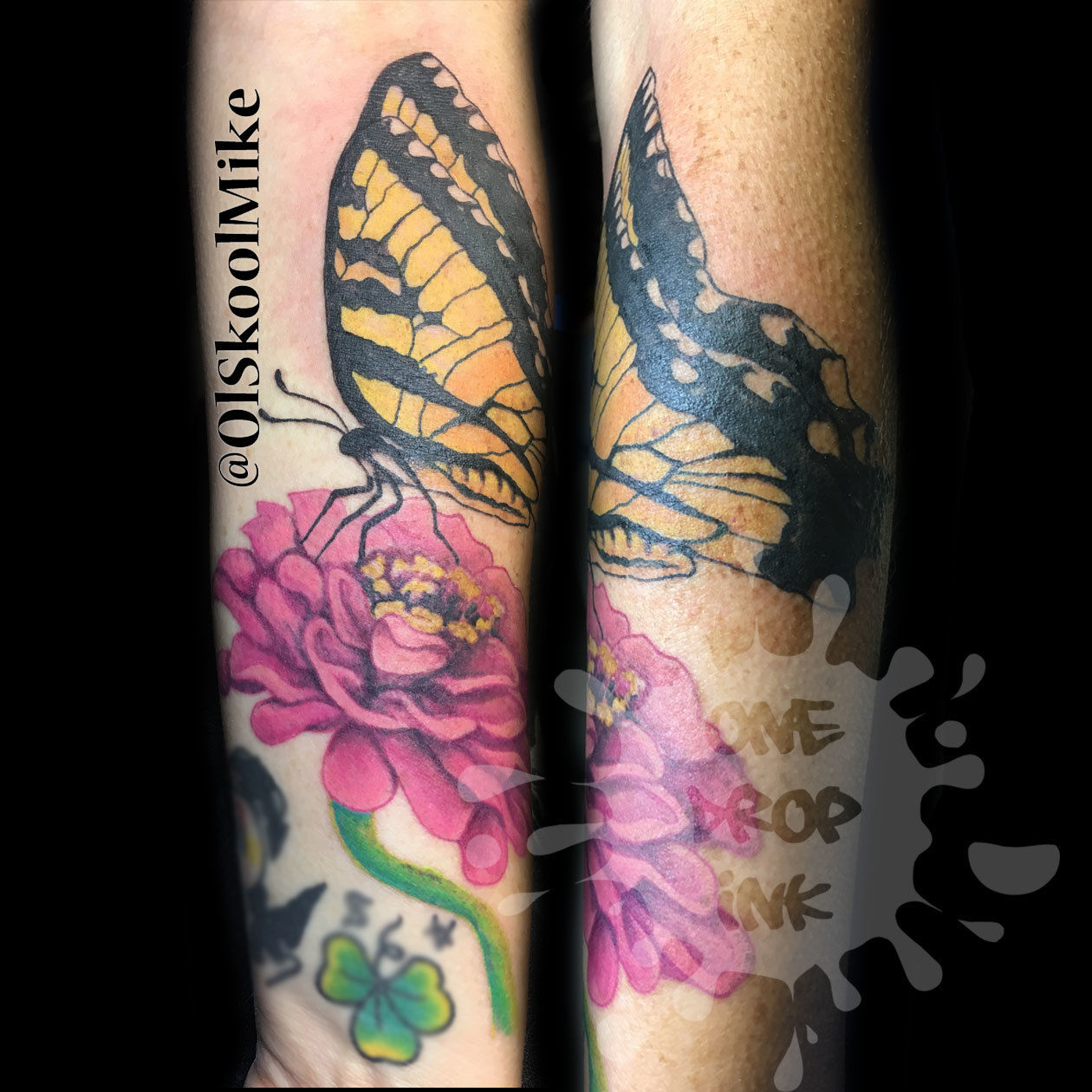 Olskoolmikemonarch Butterfly Dahlia Flower Forearm
