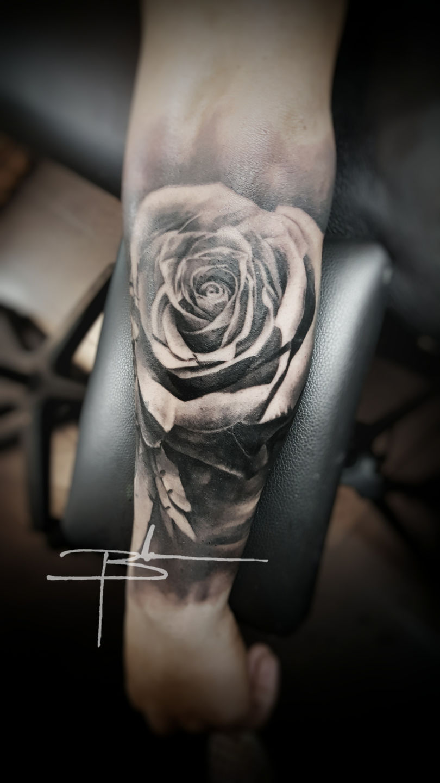 Brandonevansrose On Back Of Forearm Flowers Floral Rose Roses Black