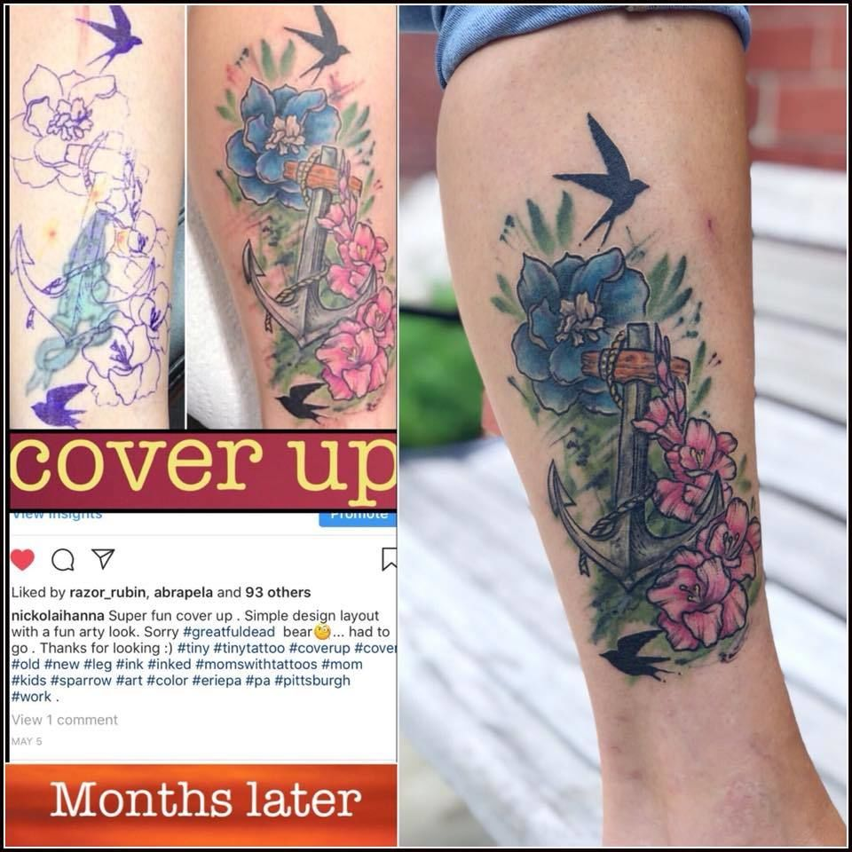 Nickolaihanna Healed Cover Cover Dead Coverup Flowers Leg Tattoo Art